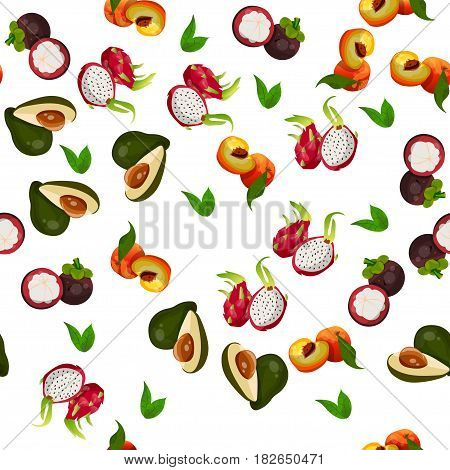Very high quality original trendy vector seamless pattern with pitaya, mangosteen, avocado, dragon fruit, exotic tropical fruit