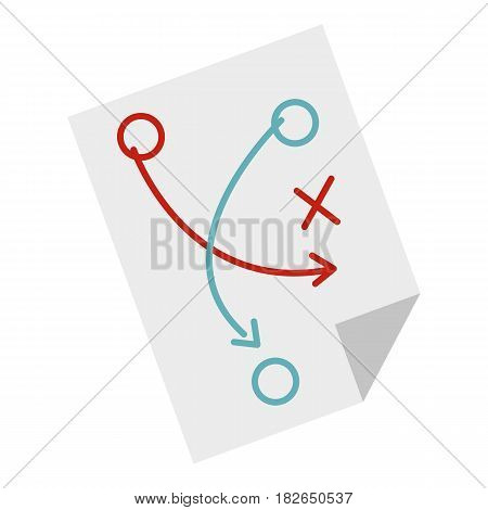 Soccer tactic paper icon flat isolated on white background vector illustration
