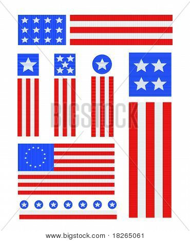 Patriotic USA Vector Icons on White