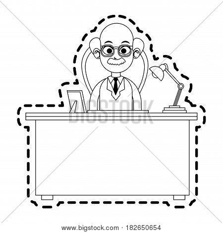 elderly male doctor and desk icon image vector illustration design