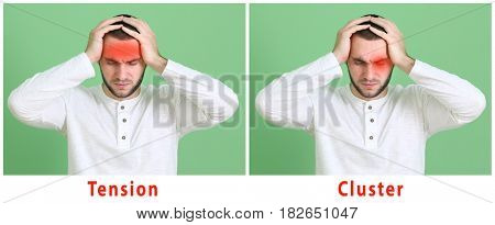 Young man with different types of headache on color background