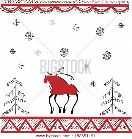 Ethnic ornament the lone stag in winter forest in red and black