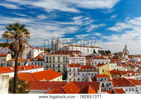 Aerial view of the city from the observation deck. The Monastery of Sao Vicente de Fora. Lisbon.. Portugal.