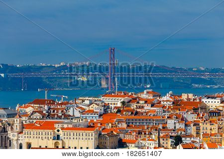 Suspension bridge 25th of April over the river Tagus. Lisbon. Portugal.