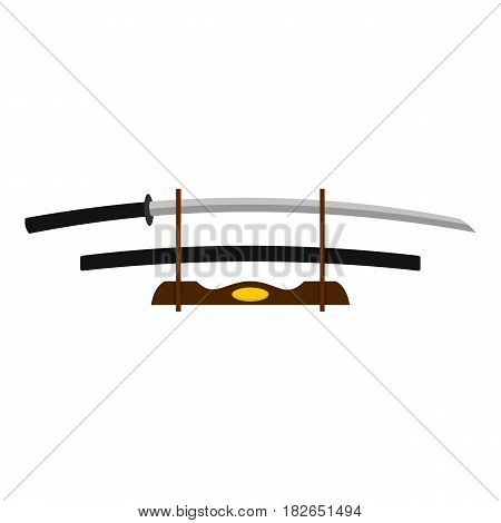 Katana on wooden stand icon flat isolated on white background vector illustration