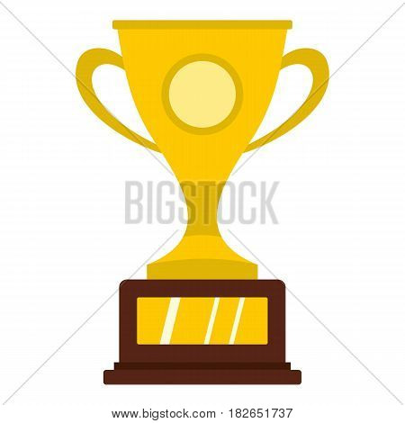Gold winner cup icon flat isolated on white background vector illustration
