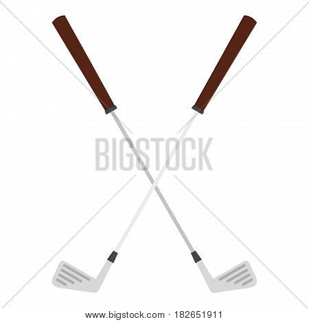 Crossed golf clubs icon flat isolated on white background vector illustration