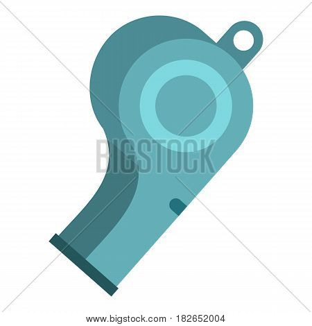 Blue sport whistle icon flat isolated on white background vector illustration