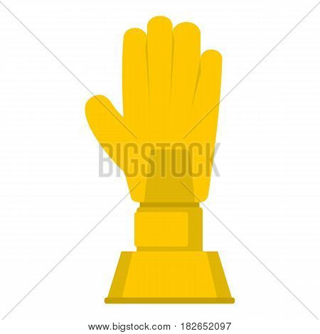 Golden baseball glove trophy icon flat isolated on white background vector illustration