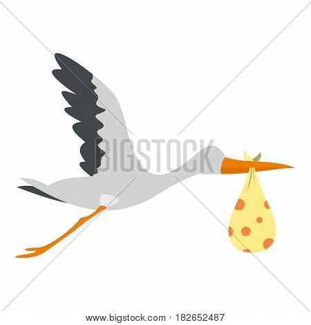 Flying stork with a bundle icon flat isolated on white background vector illustration