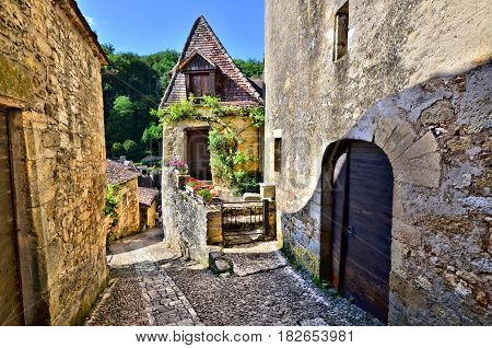 Quaint Lane In The Beautiful Dordogne Village Of Beynac, France