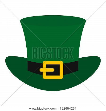Green top hat with buckle icon flat isolated on white background vector illustration