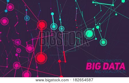 Big data visualization. Futuristic infographic. Information aesthetic design. Visual data complexity. Complex data threads graphic visualization. Social network representation. Abstract data graph.