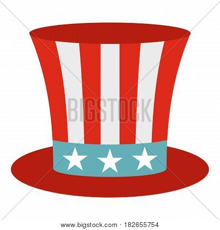 Uncle Sam hat icon flat isolated on white background vector illustration