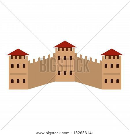 Majestic Great Wall of China icon flat isolated on white background vector illustration