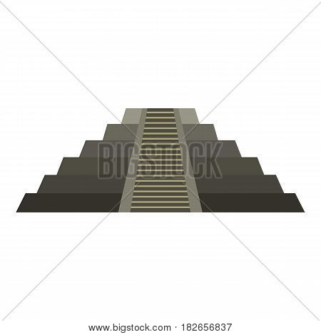 El Castillo Mayan pyramid at Chichen Itza icon flat isolated on white background vector illustration