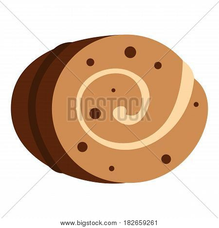 Sweet, creamy roll icon flat isolated on white background vector illustration
