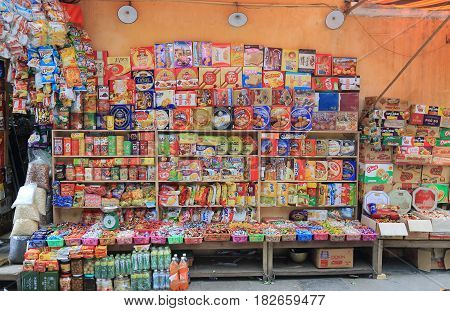 HANOI VIETNAM - NOVEMBER 24, 2016: Snack shop in Old Quarter.