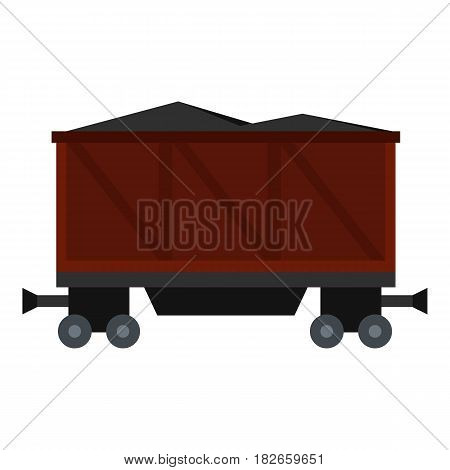 Railway wagon loaded with coal icon flat isolated on white background vector illustration