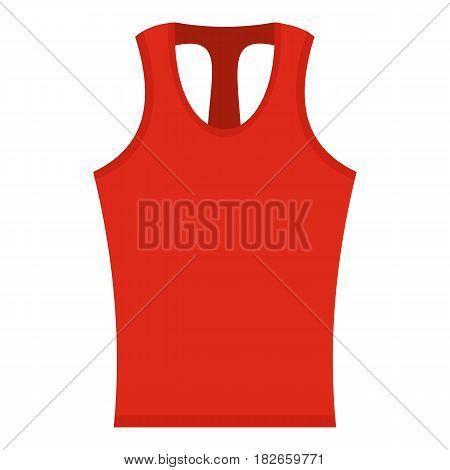 Red sleeveless shirt icon flat isolated on white background vector illustration