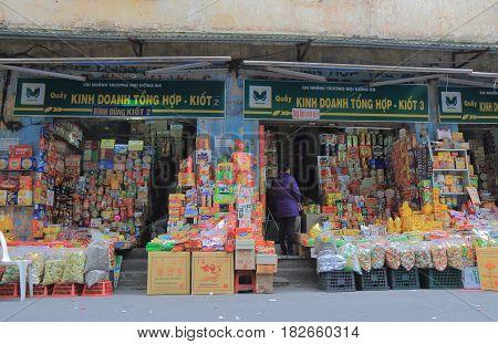HANOI VIETNAM - NOVEMBER 24, 2016: Unidentified people visit Snack shops in Old Quarter.