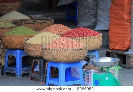 Grain shop in Old Quarter Hanoi Vietnam