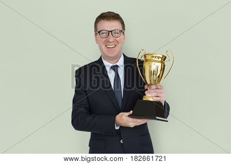 Caucasian Business Man Award Trophy