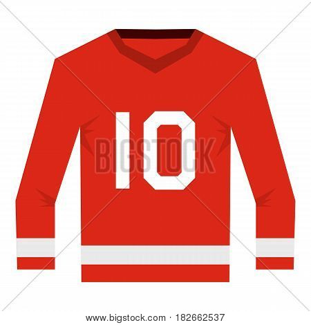 Red Canadian hockey jersey icon flat isolated on white background vector illustration