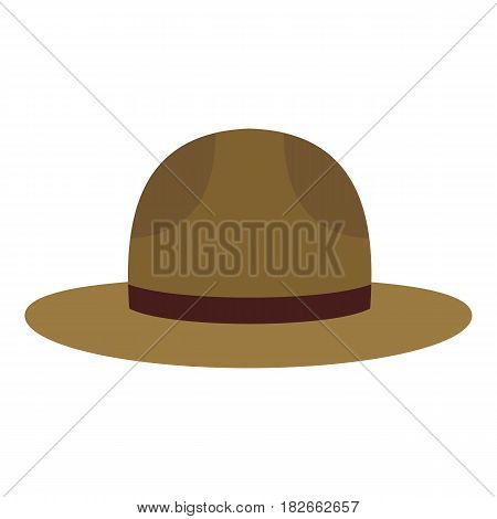 Hat officer of the Canadian equestrian cavalry icon flat isolated on white background vector illustration