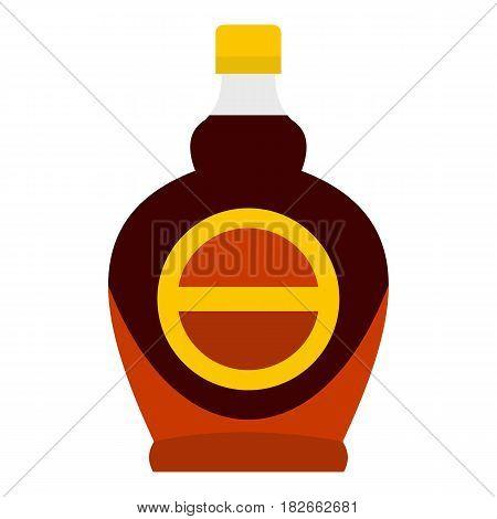 Bottle of maple syrup icon flat isolated on white background vector illustration