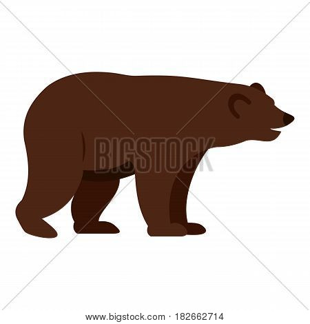 Grizzly bear icon flat isolated on white background vector illustration