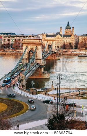 Overview of Budapest with the Szechenyi Chain Bridge in Budapest at sunrise
