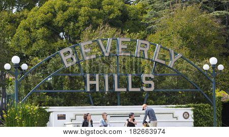 Los Angeles USA - April 17 2017: A sign in Beverly Hills Los Angeles California which is the home to many famous celebrities.