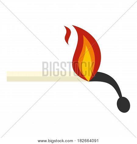 Burning match icon flat isolated on white background vector illustration