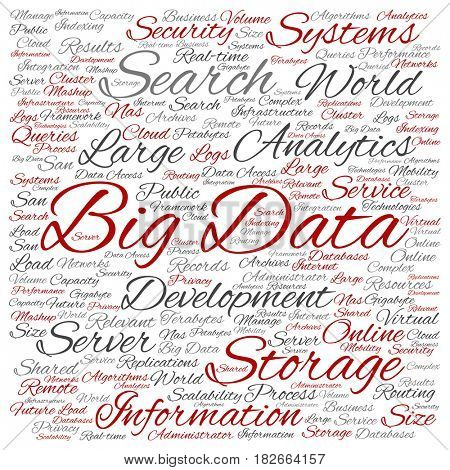 Conceptual big data large size storage systems square word cloud isolated on background