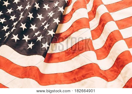 Closeup of faded American flag