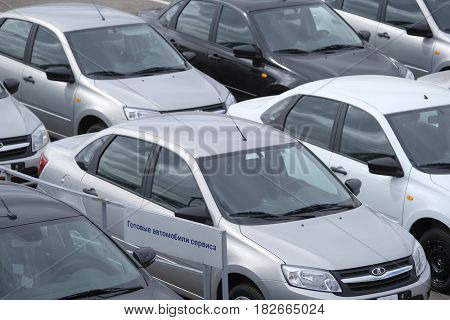 Kaluga, Russia - April, 20, 2017: New cars on a parking in car dealership of