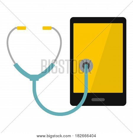 Phone diagnosis icon flat isolated on white background vector illustration