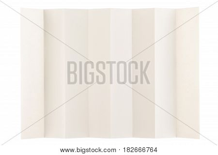 eight parts folded of eye care paper by long side isolated on white background, eye care paper is naturally color base paper for comfortable reading.