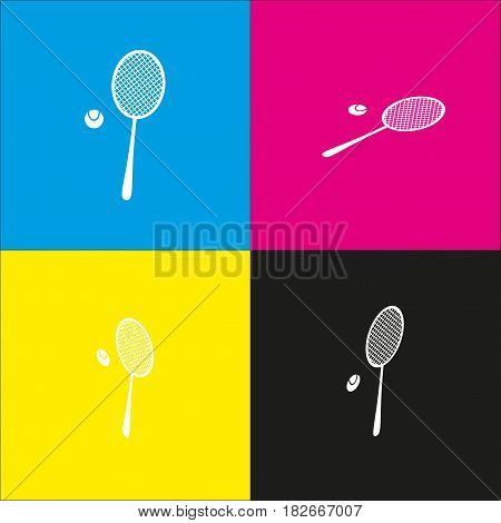 Tennis racquet sign. Vector. White icon with isometric projections on cyan, magenta, yellow and black backgrounds.