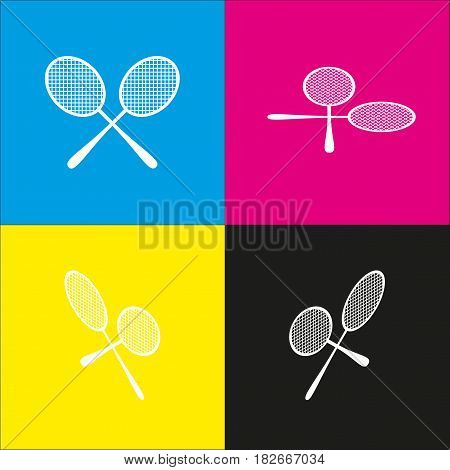 Tennis racquets sign. Vector. White icon with isometric projections on cyan, magenta, yellow and black backgrounds.