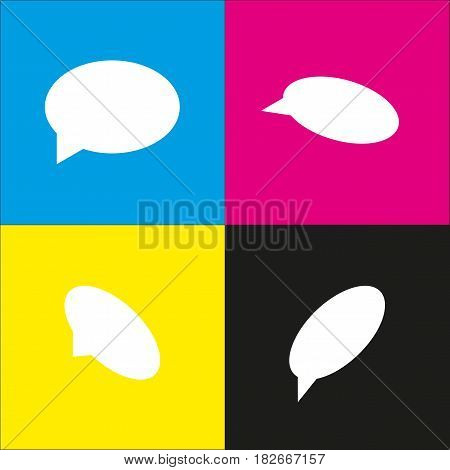 Speech bubble icon. Vector. White icon with isometric projections on cyan, magenta, yellow and black backgrounds.