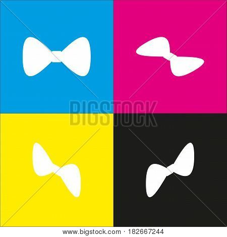 Bow Tie icon. Vector. White icon with isometric projections on cyan, magenta, yellow and black backgrounds.