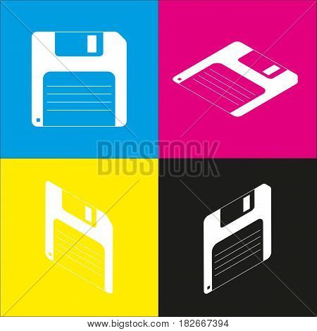 Floppy disk sign. Vector. White icon with isometric projections on cyan, magenta, yellow and black backgrounds.