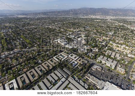 Aerial view of Burbank and the San Fernando Valley in Los Angeles County, California.