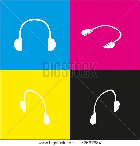 Headphones sign illustration. Vector. White icon with isometric projections on cyan, magenta, yellow and black backgrounds.