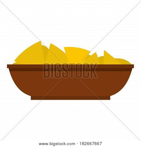 Mexican nachos in brown bowl icon flat isolated on white background vector illustration