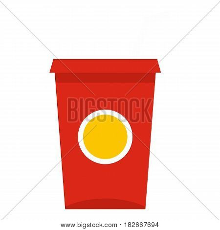 Soft drink in a red paper cup with lid and straw icon flat isolated on white background vector illustration