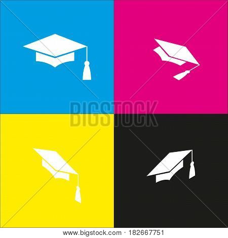 Mortar Board or Graduation Cap, Education symbol. Vector. White icon with isometric projections on cyan, magenta, yellow and black backgrounds.