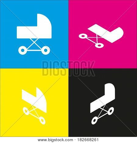 Pram sign illustration. Vector. White icon with isometric projections on cyan, magenta, yellow and black backgrounds.